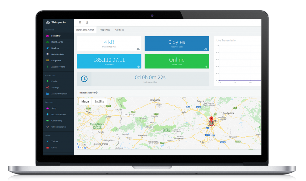 Sigfox Device Dashboard on Thinger.io